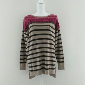 Westbound • Striped Elbow Patch Sweater